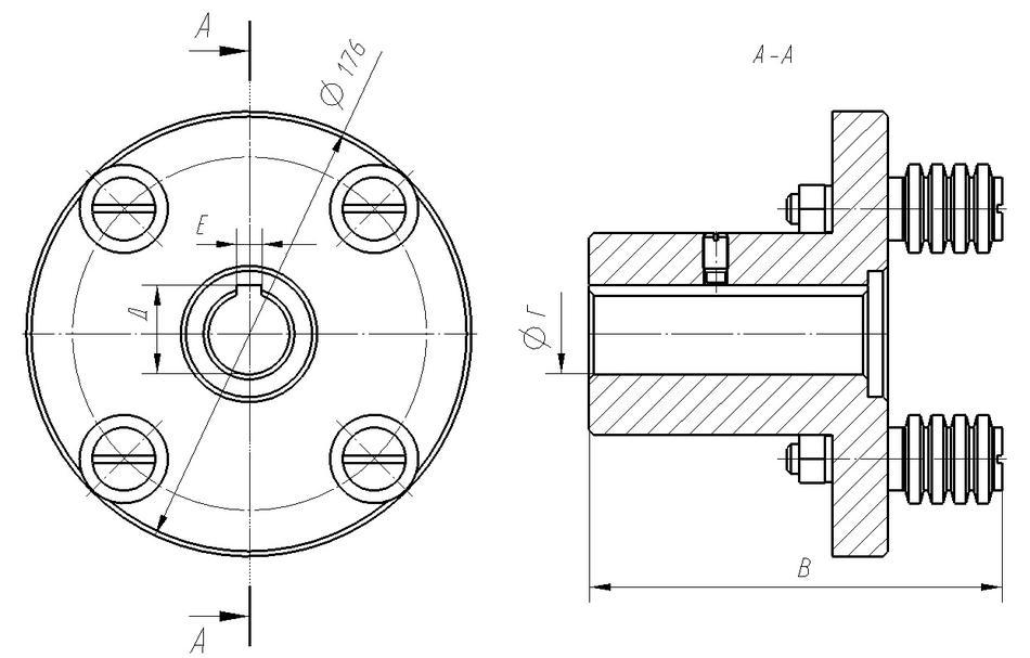 Полумуфта моторная D=32мм L=162мм в сборе с пальцами (0471.22.04.000) МЛЗ